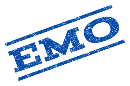 emo: Emo watermark stamp. Text caption between parallel lines with grunge design style. Rotated rubber seal stamp with dirty texture. Vector blue ink imprint on a white background.