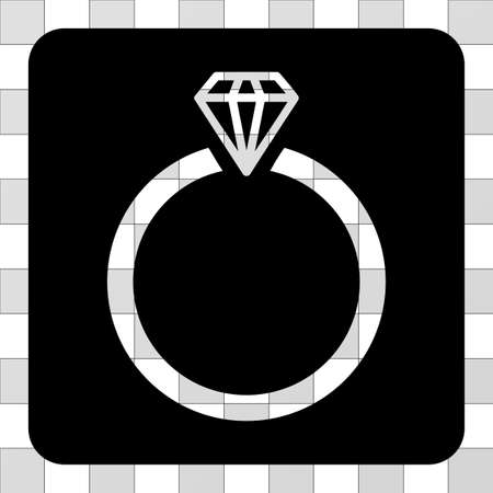 Diamond Ring interface toolbar icon. Vector pictograph style is a flat symbol perforation centered in a rounded square shape, black color.