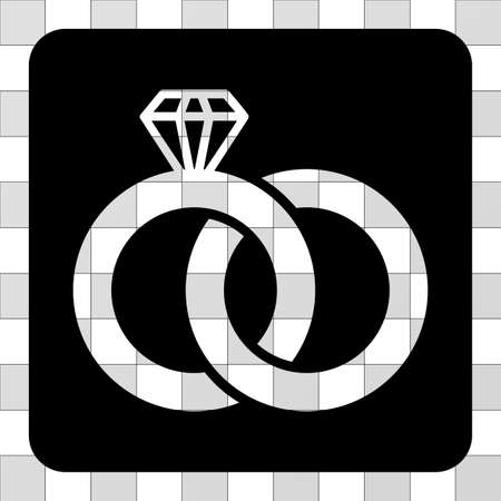 ruby: Diamond Wedding Rings interface toolbar icon. Vector pictogram style is a flat symbol hole centered in a rounded square shape, black color.