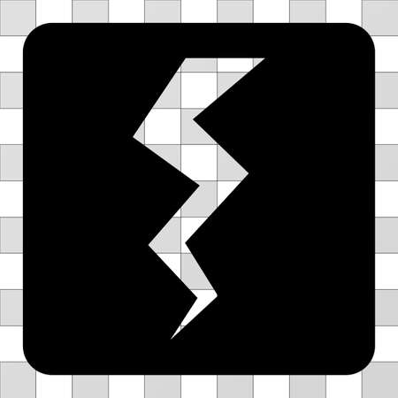 Thunder Crack interface toolbar icon. Vector pictograph style is a flat symbol hole in a rounded square shape, black color.