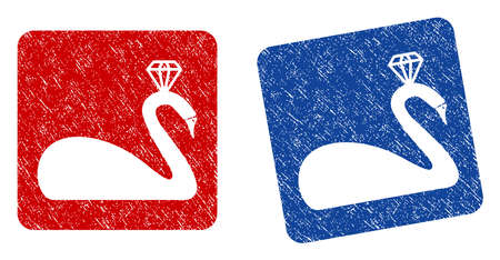 Crowned Swan grunge textured icon. Rounded square with symbol shape hole. Flat style with scratched texture. Blue and red variants. Corroded vector stamp with grainy design. Illustration