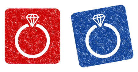 ruby: Diamond Ring grunge textured icon. Rounded square with symbol shape hole. Flat style with dirty texture. Blue and red variants. Corroded vector stamp with grainy design.