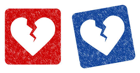 Divorce Heart grunge textured icon. Rounded square with symbol shape hole. Flat style with dust texture. Blue and red variants. Corroded vector stamp with grainy design. Illustration
