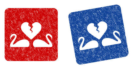 Divorce Swans grunge textured icon. Rounded square with symbol shape hole. Flat style with scratched texture. Blue and red variants. Corroded vector stamp with grainy design.