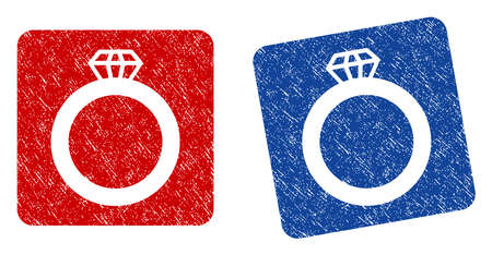ruby: Gem Ring grunge textured icon. Rounded square with symbol shape hole. Flat style with dust texture. Blue and red variants. Corroded vector stamp with grainy design.