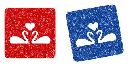 Love Swans grunge textured icon. Rounded square with symbol shape hole. Flat style with unclean texture. Blue and red variants. Corroded vector stamp with grainy design.