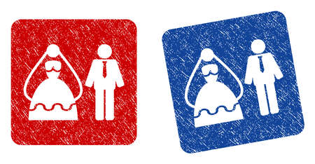 Marriage Persons grunge textured icon. Rounded square with symbol shape hole. Flat style with dirty texture. Blue and red variants. Corroded vector stamp with grainy design.