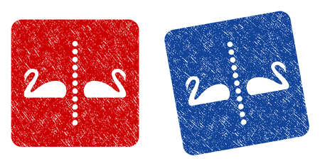 Separate Swans grunge textured icon. Rounded square with symbol shape hole. Flat style with unclean texture. Blue and red variants. Corroded vector stamp with grainy design.