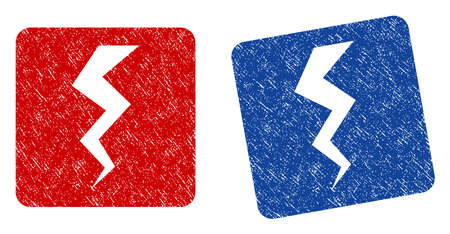 sabotage: Thunder Crack grunge textured icon. Rounded square with symbol shape hole. Flat style with scratched texture. Blue and red variants. Corroded vector stamp with grainy design.