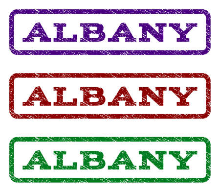 albany: Albany watermark stamp. Text caption inside rounded rectangle with grunge design style. Vector variants are indigo blue, red, green ink colors. Rubber seal stamp with scratched texture.
