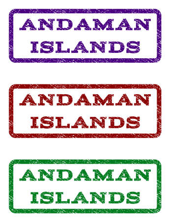 Andaman Islands watermark stamp. Text tag inside rounded rectangle frame with grunge design style. Vector variants are indigo blue, red, green ink colors. Rubber seal stamp with scratched texture.