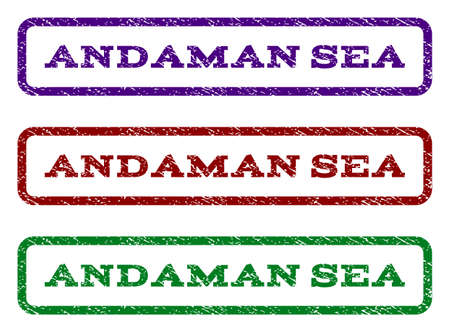 Andaman Sea watermark stamp. Text caption inside rounded rectangle with grunge design style. Vector variants are indigo blue, red, green ink colors. Rubber seal stamp with dust texture.