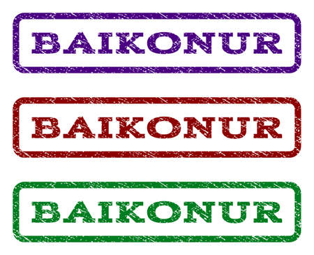 spaceport: Baikonur watermark stamp. Text tag inside rounded rectangle with grunge design style. Vector variants are indigo blue, red, green ink colors. Rubber seal stamp with dirty texture.