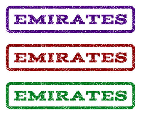 Emirates watermark stamp. Text caption inside rounded rectangle with grunge design style. Vector variants are indigo blue, red, green ink colors. Rubber seal stamp with dirty texture.