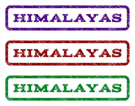 Himalayas watermark stamp. Vector variants are indigo blue, red, green ink colors. Rubber seal stamp with unclean texture.