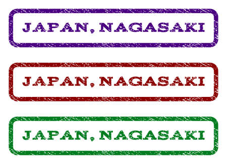 Japan, Nagasaki watermark stamp. Text tag inside rounded rectangle with grunge design style. Vector variants are indigo blue, red, green ink colors. Rubber seal stamp with scratched texture. Illustration