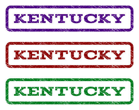 Kentucky watermark stamp. Text caption inside rounded rectangle frame with grunge design style. Vector variants are indigo blue, red, green ink colors. Rubber seal stamp with unclean texture. Illustration