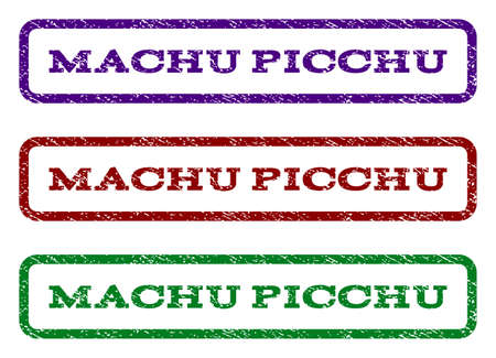 machu: Machu Picchu watermark stamp. Text caption inside rounded rectangle with grunge design style. Vector variants are indigo blue, red, green ink colors. Rubber seal stamp with unclean texture.
