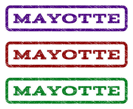 mayotte: Mayotte watermark stamp. Text tag inside rounded rectangle with grunge design style. Vector variants are indigo blue, red, green ink colors. Rubber seal stamp with scratched texture.