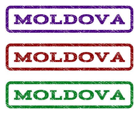Moldova sello de marca de agua. Etiqueta de texto dentro de un rectángulo redondeado con estilo de diseño grunge. Las variantes vectoriales son los colores añil, rojo, verde y tinta verde. Sello sello de goma con textura de polvo.
