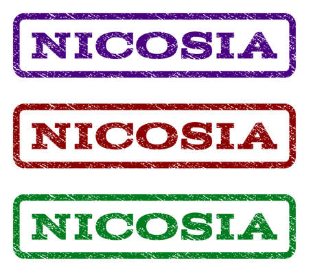 Nicosia watermark stamp. Text tag inside rounded rectangle with grunge design style. Vector variants are indigo blue, red, green ink colors. Rubber seal stamp with dirty texture.