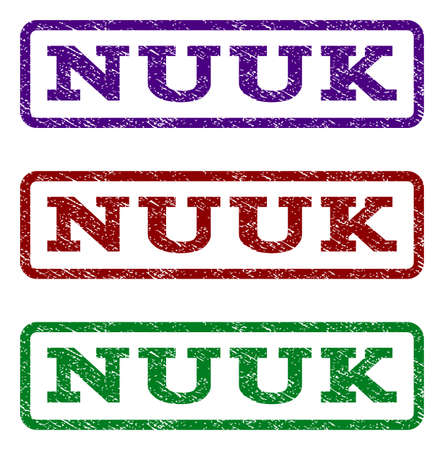 nuuk: Nuuk watermark stamp. Text caption inside rounded rectangle frame with grunge design style. Vector variants are indigo blue, red, green ink colors. Rubber seal stamp with dust texture.