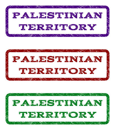 Palestinian Territory watermark stamp. Text caption inside rounded rectangle frame with grunge design style. Vector variants are indigo blue, red, green ink colors.