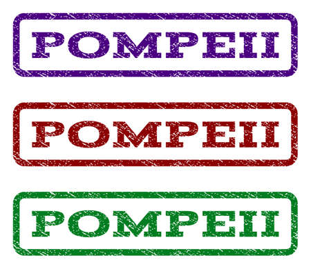 Pompeii watermark stamp. Text tag inside rounded rectangle with grunge design style. Vector variants are indigo blue, red, green ink colors. Rubber seal stamp with dirty texture.