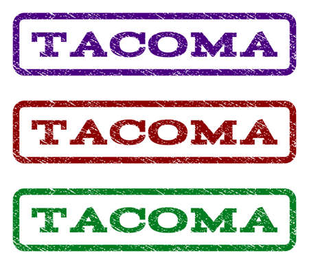 tacoma: Tacoma watermark stamp. Text caption inside rounded rectangle frame with grunge design style. Vector variants are indigo blue, red, green ink colors. Rubber seal stamp with scratched texture.