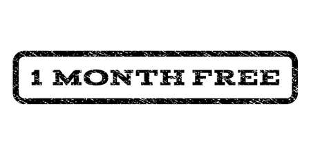 1 Month Free watermark stamp. Text tag inside rounded rectangle with grunge design style. Rubber seal stamp with dust texture. Vector black ink imprint on a white background. Illustration