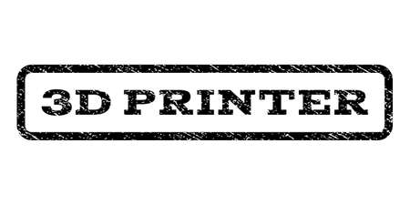 3D Printer watermark stamp. Text caption inside rounded rectangle with grunge design style. Rubber seal stamp with dust texture. Vector black ink imprint.