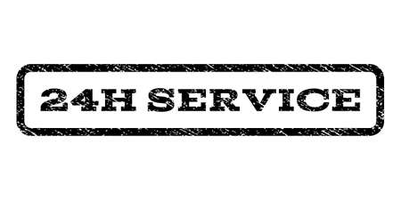 twenty four hour: 24H Service watermark stamp. Text caption inside rounded rectangle frame with grunge design style. Rubber seal stamp with dust texture. Vector black ink imprint .