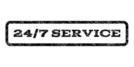 24-7 Service watermark stamp. Text caption inside rounded rectangle with grunge design style. Rubber seal stamp with unclean texture. Vector black ink imprint.