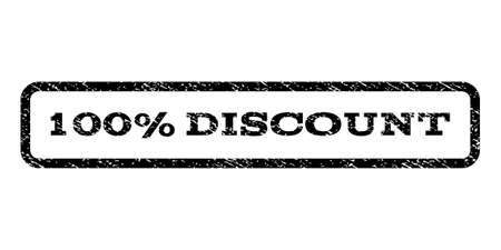fully: 100 Percent Discount watermark stamp. Text tag inside rounded rectangle with grunge design style. Rubber seal stamp with scratched texture. Vector black ink imprint on a white background.