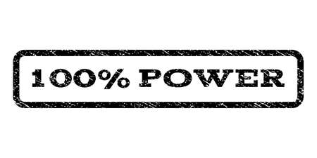 fully: 100 Percent Power watermark stamp. Text tag inside rounded rectangle frame with grunge design style. Rubber seal stamp with dust texture. Vector black ink. Illustration