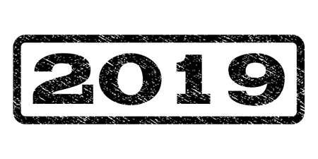 Sello de marca de agua 2019. Leyenda de texto dentro del marco de rectángulo redondeado con diseño grunge.