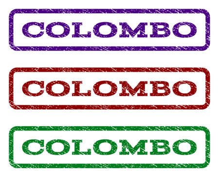 colombo: Colombo watermark stamp. Text caption inside rounded rectangle frame with grunge design style.
