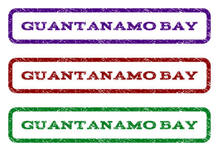 guantanamo: Guantanamo Bay watermark stamp. Text caption inside rounded rectangle with grunge design style. Vector variants are indigo blue, red, green ink colors. Rubber seal stamp with scratched texture. Illustration