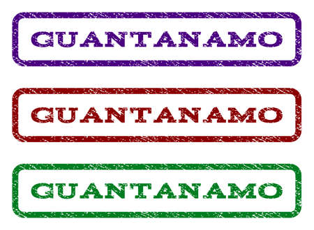 guantanamo: Guantanamo watermark stamp. Text tag inside rounded rectangle with grunge design style. Vector variants are indigo blue, red, green ink colors. Rubber seal stamp with unclean texture. Illustration