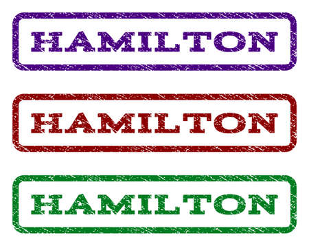 hamilton: Hamilton watermark stamp. Text caption inside rounded rectangle with grunge design style. Vector variants are indigo blue, red, green ink colors. Rubber seal stamp with unclean texture. Illustration