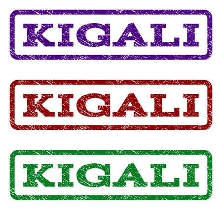 kigali: Kigali watermark stamp. Text caption inside rounded rectangle frame with grunge design style. Vector variants are indigo blue, red, green ink colors. Rubber seal stamp with dirty texture.