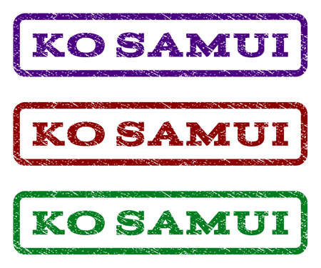 samui: Ko Samui watermark stamp. Text tag inside rounded rectangle frame with grunge design style. Vector variants are indigo blue, red, green ink colors. Rubber seal stamp with dust texture.