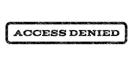 Access Denied watermark stamp. Text caption inside rounded rectangle frame with grunge design style.  Vector black ink imprint on a white background.