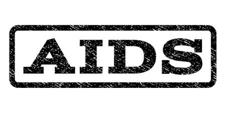 infectious disease: AIDS watermark stamp. Text tag inside rounded rectangle with grunge design style. Rubber seal stamp with dust texture. Vector black ink imprint on a white background. Illustration
