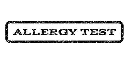 Allergy Test watermark stamp. Text tag inside rounded rectangle frame with grunge design style. Rubber seal stamp with dust texture. Vector black ink imprint on a white background. Ilustração