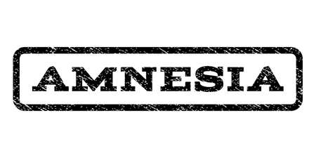 amnesia: Amnesia watermark stamp. Text tag inside rounded rectangle with grunge design style.