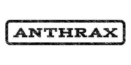 anthrax: Anthrax watermark stamp. Text caption inside rounded rectangle frame with grunge design.