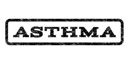 Asthma watermark stamp. Text tag inside rounded rectangle frame with grunge design style.