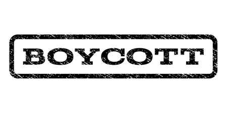 boycott: Boycott watermark stamp. Text caption inside rounded rectangle frame with grunge design style. Rubber seal stamp with dust texture. Vector black ink imprint on a white background.