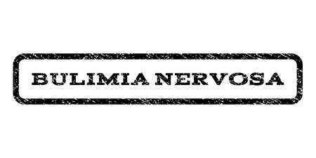bulimia: Bulimia Nervosa watermark stamp. Text caption inside rounded rectangle with grunge design style. Rubber seal stamp with scratched texture. Vector black ink imprint on a white background.